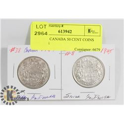 LOT OF 2 CANADA 50 CENT COINS 1949, 1945