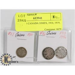 LOT OF 3 CANADA DIMES, 1910, 1919, 1936