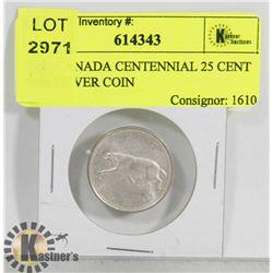1967 CANADA CENTENNIAL 25 CENT 80% SILVER COIN