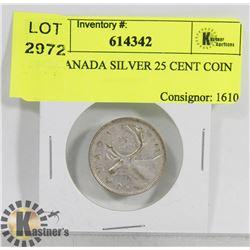 1942 CANADA SILVER 25 CENT COIN