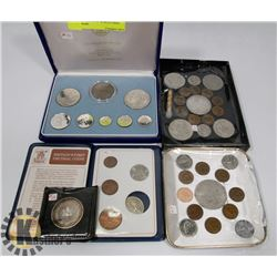 LOT OF ASSORTED WORLD COINS AND MORE