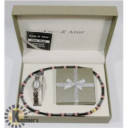 NEW COTE D'AZUR WATCH, NECKLACE AND EARRING