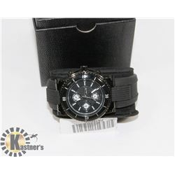 OMAX MENS WATCH WITH BLACK FACE, STAINLESS STEEL