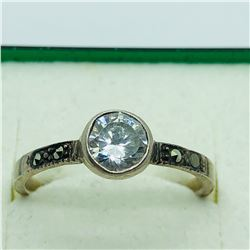 SILVER CUBIC ZIRCONIA MARCASITE RING