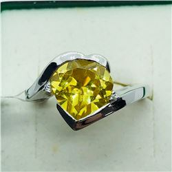 SILVER YELLOW CUBIC ZIRCONIA RING