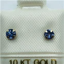 10K YELLOW GOLD TANZANITE EARRINGS