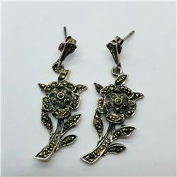 SILVER MARCASITE ANTIQUE DESIGN EARRINGS