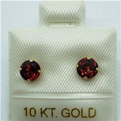 10K YELLOW GOLD GARNET EARRINGS