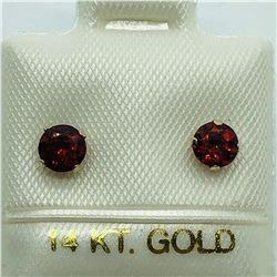 14K GOLD GARNET EARRINGS