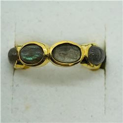 GOLD PLATED SILVER LABRADORITE RING