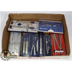 LOT OF ASSORTED DRAFTING SETS INCLUDING
