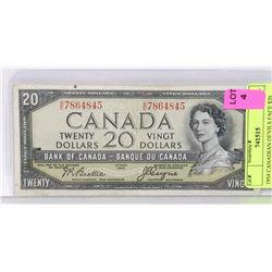 1954 CANADIAN DEVILS FACE $20 BILL.
