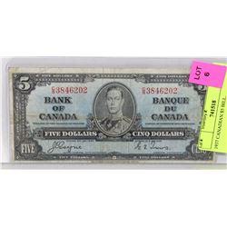 1937 CANADIAN $5 BILL.