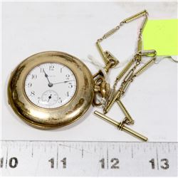 VINTAGE ELGIN POCKET WATCH WITH CHAIN - WORKING.