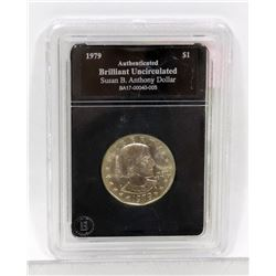 1979 US SUSAN B ANTHONY ONE DOLLAR ENCASED COIN.