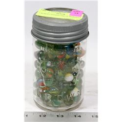 CROWN CANNING JAR OF MARBLES