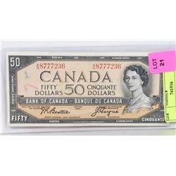 1954 CANADIAN $50 BILL.