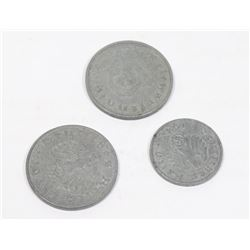 3 GERMAN NAZI COINS WITH SWASTIKA 1943, 1941, 1944