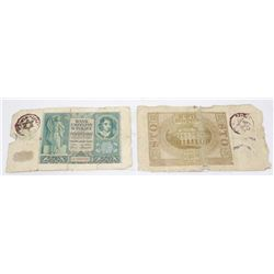 2 POLISH WWII BANKNOTES STAMPED JUDE JEW