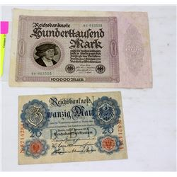 GERMAN BANK NOTE 20 MARK 1914 AND 100,000 1923