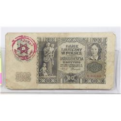 POLISH WW2 BANKNOTE STROMP JEWISH GHETTO IN WARSAW