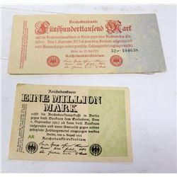 2 GERMAN BANKNOTES 1 MILLION 1923, 500,000 1923