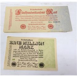2 GERMAN BANKNOTES 1 MILLION 1923, 500,000 1923