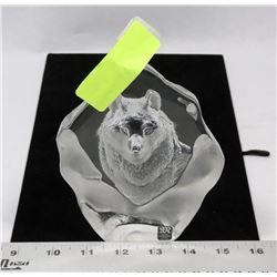 """WOLF CARVED IN GLASS 6"""" TALL MATS JOHANSSON SWEDEN"""