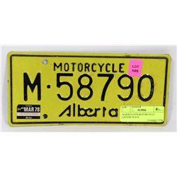 ALBERTA 1978 MOTORCYCLE LICENSE PLATE