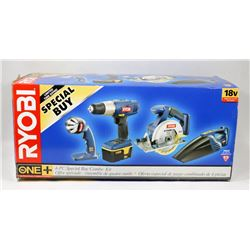 RYOBI 18V DRILL SAW, VACUUM, BATTERY AND CHARGER