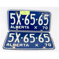 MATCHING PAIR ALBERTA 1970 COMMERCIAL LICENSE