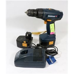 MASTERCRAFT CORDLESS DRILL, 2 BATTERIES, CHARGER.