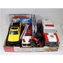 BOX OF TOYS-TONKA TRUCK, FIRE ENGINE, AMBULANCE