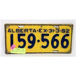 ALBERTA 1952 LICENSE PLATE EXP MARCH 31, 1944