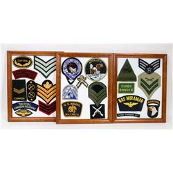3 FRAMED CANADIAN AND US MILITARY PATCH LOTS.