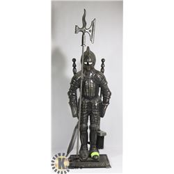 CAST IRON KNIGHT WITH HALBERD FIRE PLACE SET