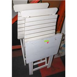 FOLDABLE WHITE PATIO TABLE WITH 2 CHAIRS.