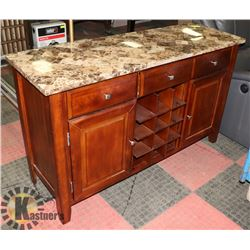 BROWN MARBLE TOP BUFFET TABLE WITH STORAGE DRAWERS