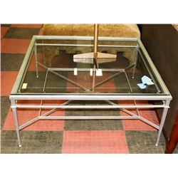BOUTIQUE METAL AND GLASS SQUARE COFFEE TABLE