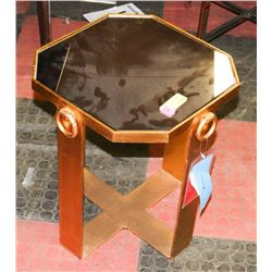 BOUTIQUE MILANOG METAL AND GLASS END TABLE.