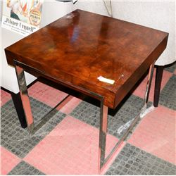 BOUTIQUE WOOD TONE AND METAL END TABLE