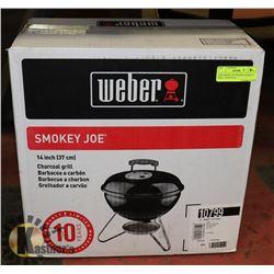 "NEW SMOKEY JOE WEBER 14"" CHARCOAL GRILL. SEASONAL,"
