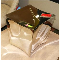 BOUTIQUE POLISHED STAINLESS STEEL STOOL. FURNITURE