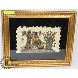 WALL ART FEATURES TUTANKHAMON AND HIS WIFE ON THE