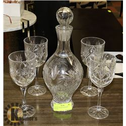 CRYSTAL DECANTER & WINE GLASSES.
