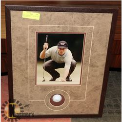 MIKE WEIR FRAMED GOLF PICTURE WITH INSET GOLF