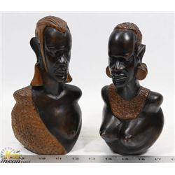 HANDCARVED AFRICAN MAN WOMAN WOOD STATUES