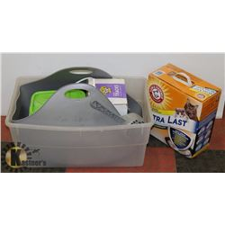 NEW CAT LITTER BOX WITH 3 CONTAINERS OF CAT LITTER