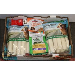 BOX OF ASSORTED DOG TREATS AND CHEWS