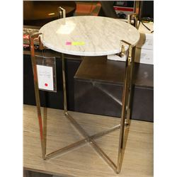 BOUTIQUE GRANITE TOP METAL FRAME END TABLE